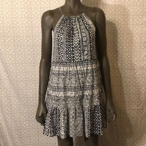 LOFT cotton halter dress- navy and white sz XS